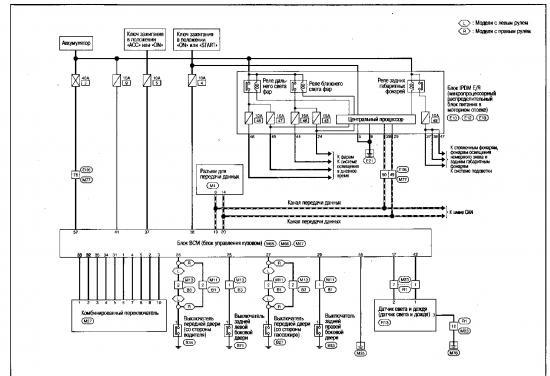Схема системы автоматического освещения Nissan Qashqai